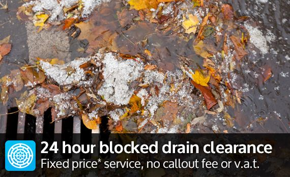 24 hour blocked drain clearance - fixed price* service, no callout fee or v.a.t.